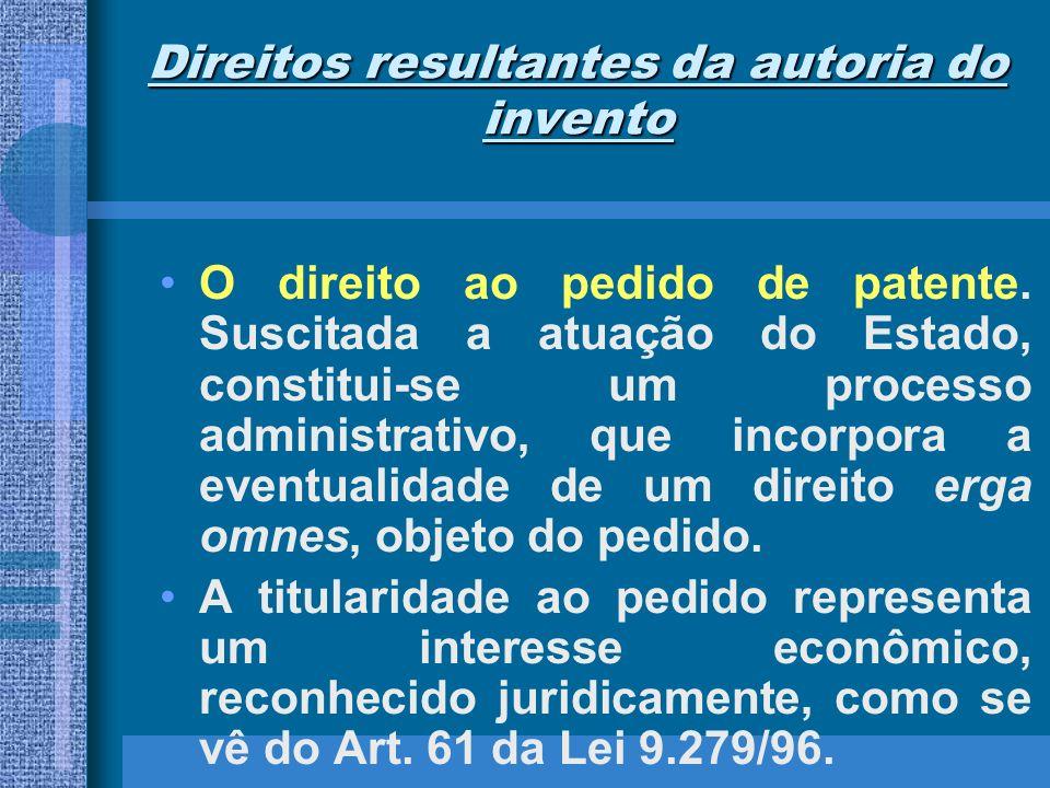 Direitos resultantes da autoria do invento O direito ao pedido de patente. Suscitada a atuação do Estado, constitui-se um processo administrativo, que