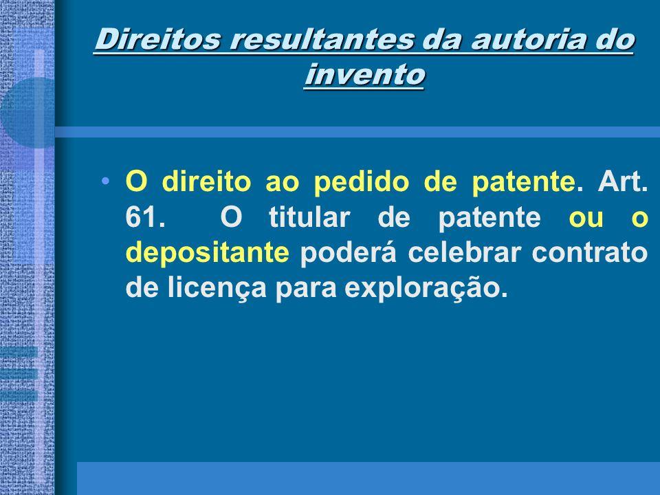 Direitos resultantes da autoria do invento O direito ao pedido de patente. Art. 61. O titular de patente ou o depositante poderá celebrar contrato de