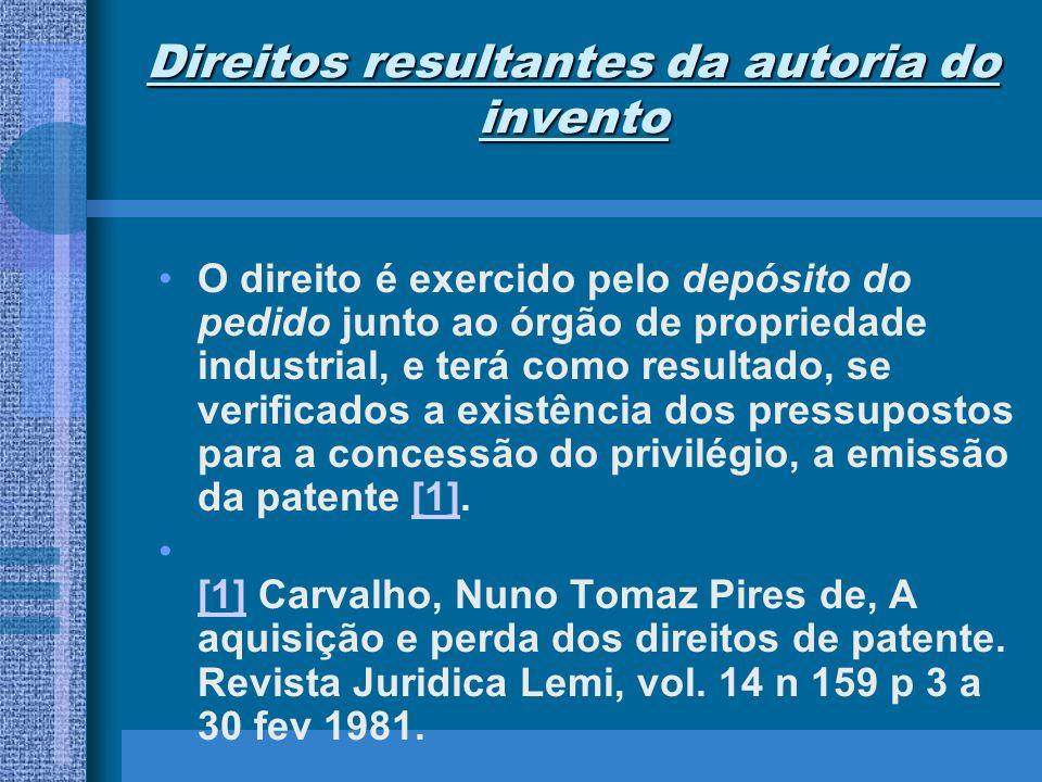 Direitos resultantes da autoria do invento O direito é exercido pelo depósito do pedido junto ao órgão de propriedade industrial, e terá como resultad