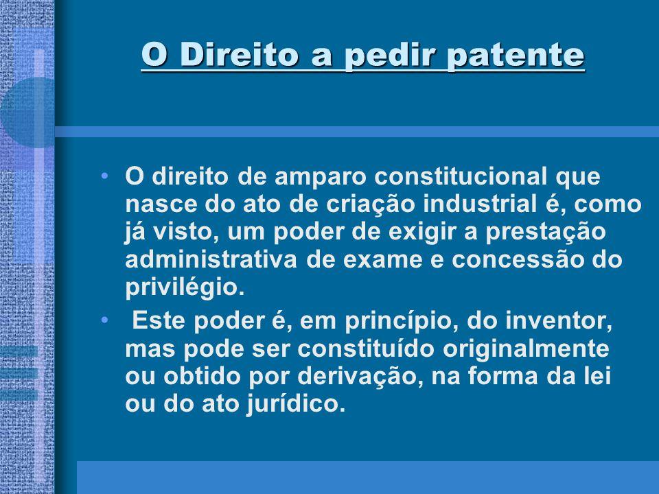 O Direito a pedir patente O direito de amparo constitucional que nasce do ato de criação industrial é, como já visto, um poder de exigir a prestação a