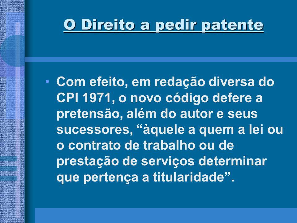 O Direito a pedir patente O direito de pedir patente pode ser objeto de cessão, como aliás é prática universal, de sucessão causa mortis, ou de outras formas de transferência de direitos.