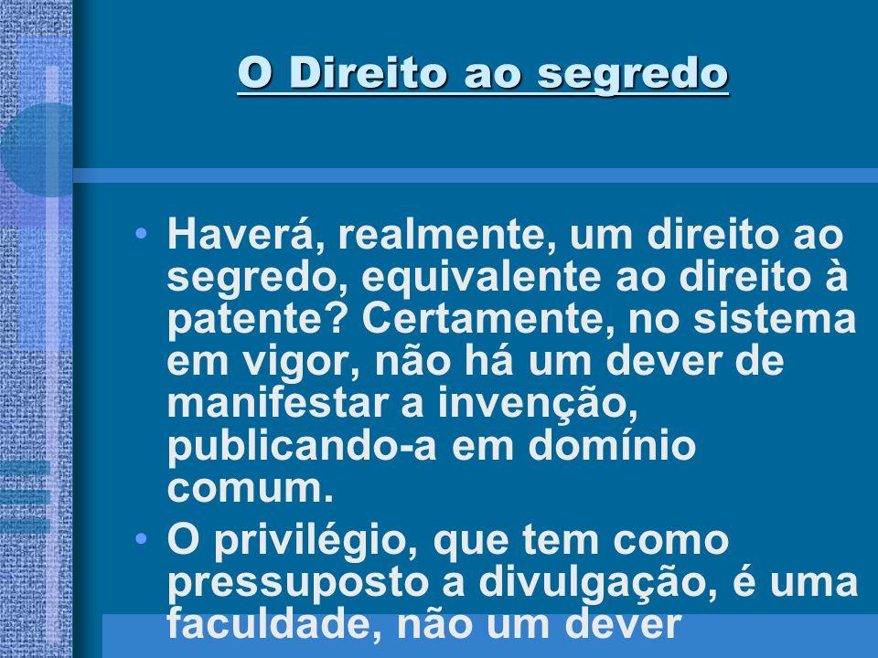O Direito ao segredo Gama Cerqueira lembra: pois o inventor pode dar à sua invenção o destino que quiser.