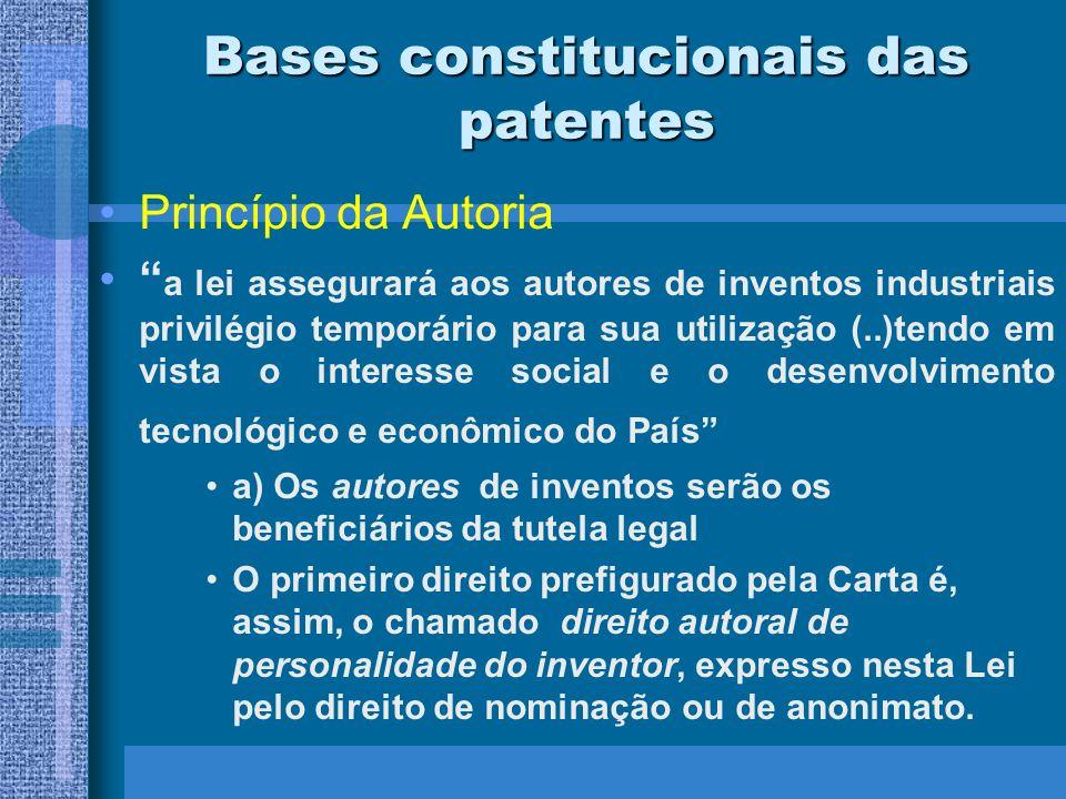 Bases constitucionais das patentes Princípio da Autoria a lei assegurará aos autores de inventos industriais privilégio temporário para sua utilização