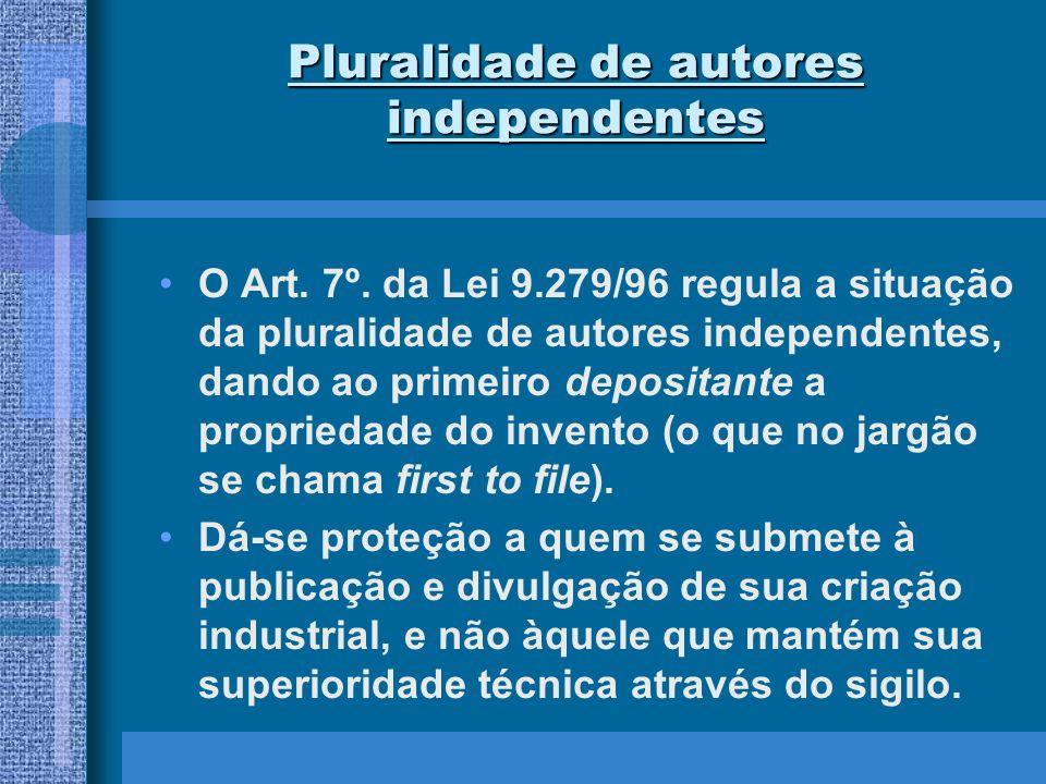 Pluralidade de autores independentes O Art. 7º. da Lei 9.279/96 regula a situação da pluralidade de autores independentes, dando ao primeiro depositan