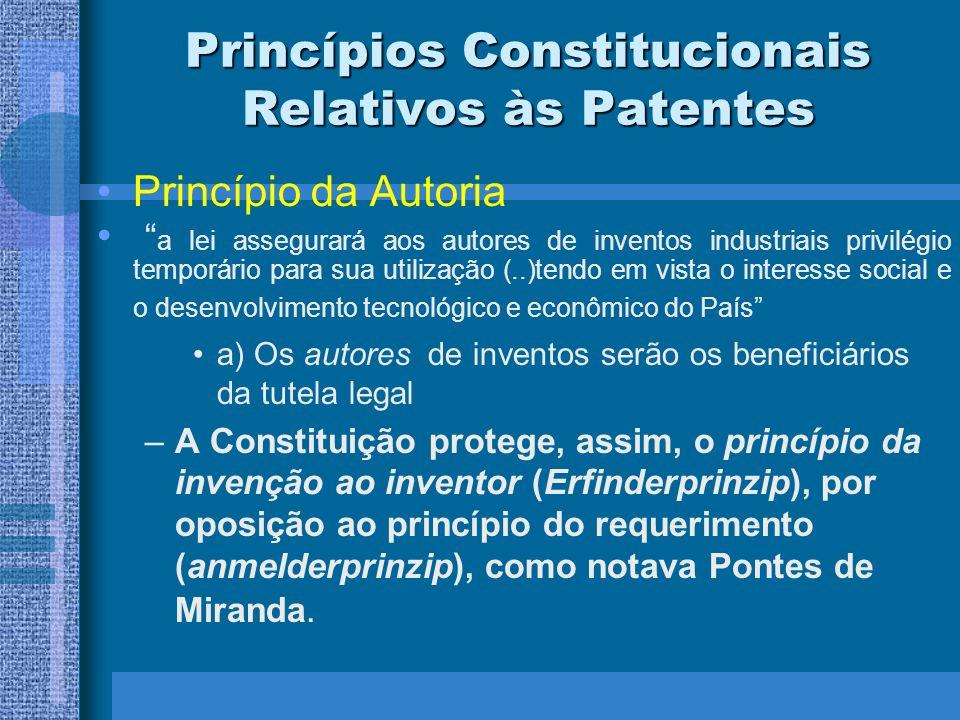 Princípios Constitucionais Relativos às Patentes Princípio da Autoria O Poder Legislativo só pode atribuir a proteção de patentes ao autor da invenção, a seus sucessores, ou àqueles que, por força de lei, recebam legitimidade diretamente do autor.
