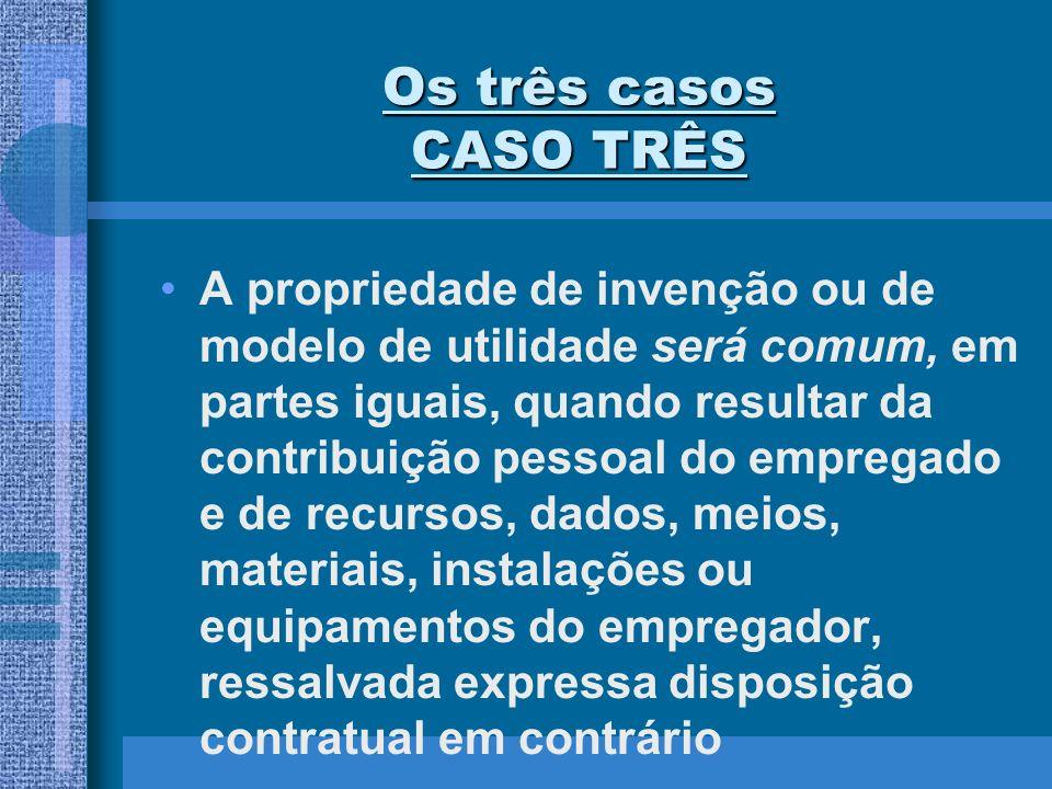 Os três casos CASO TRÊS A propriedade de invenção ou de modelo de utilidade será comum, em partes iguais, quando resultar da contribuição pessoal do e