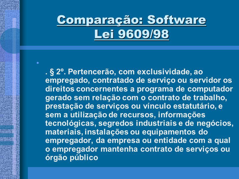 Comparação: Software Lei 9609/98. § 2º. Pertencerão, com exclusividade, ao empregado, contratado de serviço ou servidor os direitos concernentes a pro
