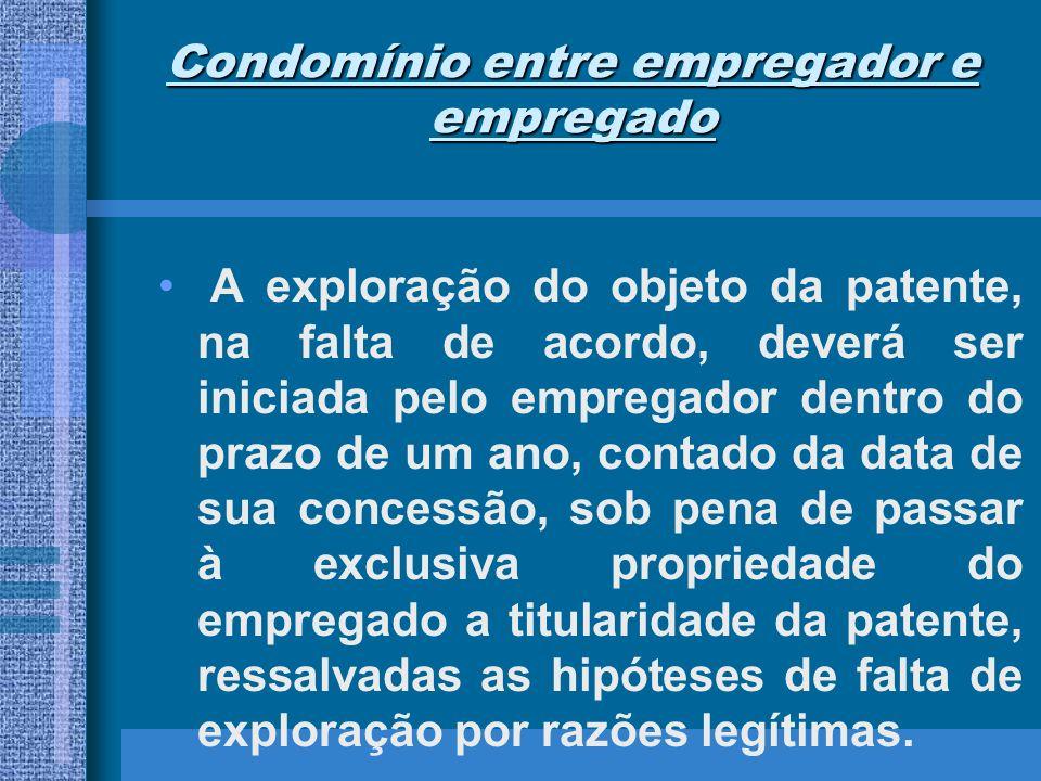 Condomínio entre empregador e empregado A exploração do objeto da patente, na falta de acordo, deverá ser iniciada pelo empregador dentro do prazo de