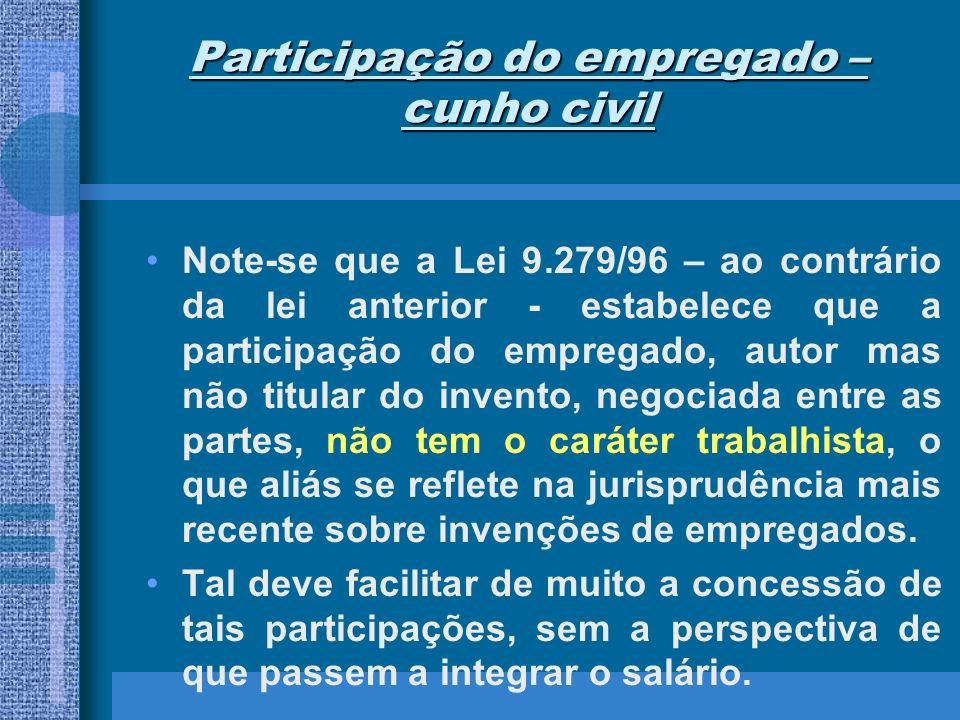 Participação do empregado – cunho civil Note-se que a Lei 9.279/96 – ao contrário da lei anterior - estabelece que a participação do empregado, autor