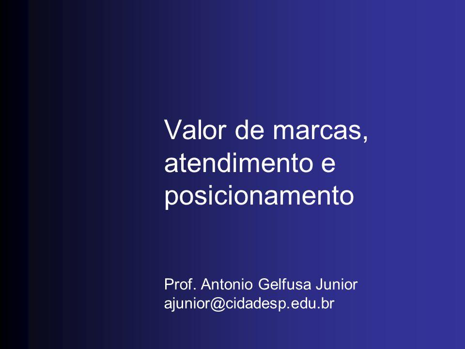 Valor de marcas, atendimento e posicionamento Prof. Antonio Gelfusa Junior ajunior@cidadesp.edu.br