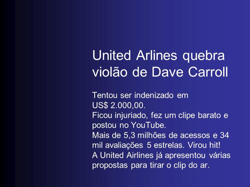 United Arlines quebra violão de Dave Carroll Tentou ser indenizado em US$ 2.000,00. Ficou injuriado, fez um clipe barato e postou no YouTube. Mais de