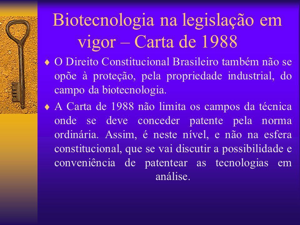 Biotecnologia na legislação em vigor – Carta de 1988 O Direito Constitucional Brasileiro também não se opõe à proteção, pela propriedade industrial, d