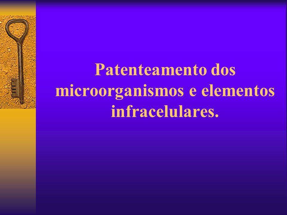 Patenteamento dos microorganismos e elementos infracelulares.