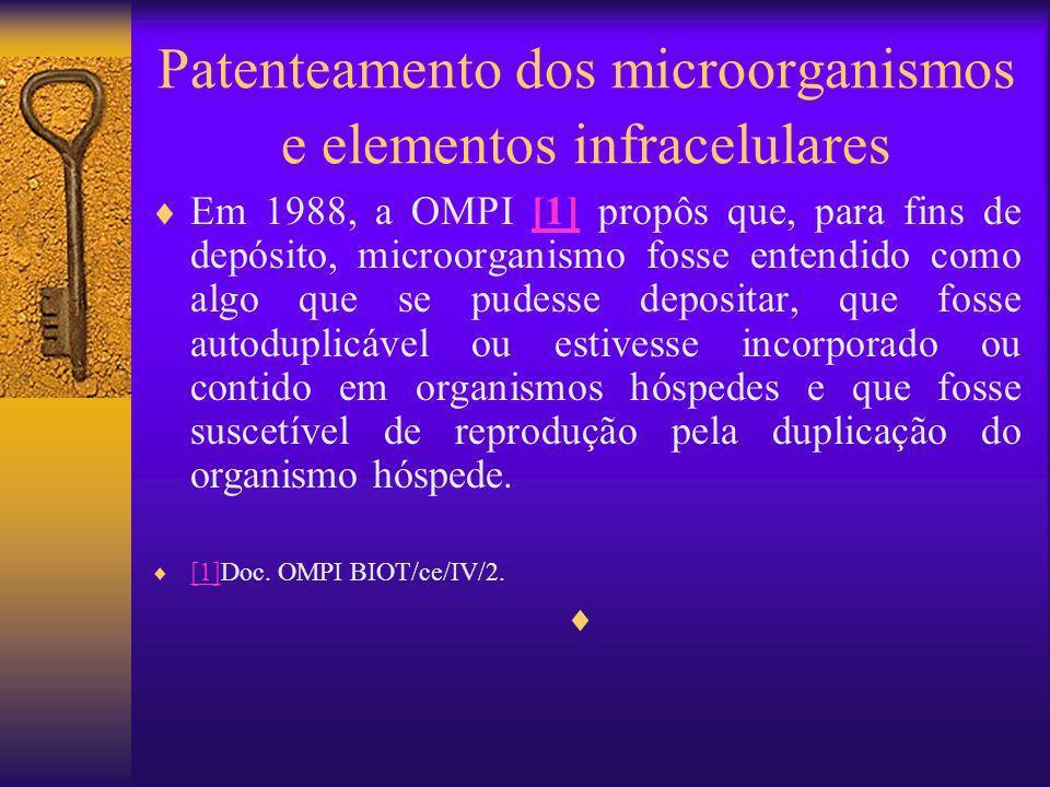 Patenteamento dos microorganismos e elementos infracelulares Em 1988, a OMPI [1] propôs que, para fins de depósito, microorganismo fosse entendido com