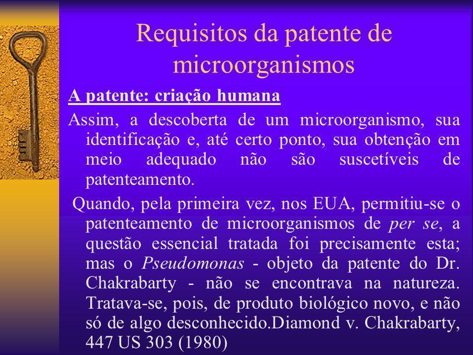 Requisitos da patente de microorganismos A patente: criação humana Assim, a descoberta de um microorganismo, sua identificação e, até certo ponto, sua