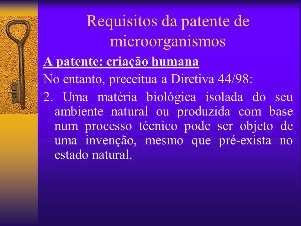 Requisitos da patente de microorganismos A patente: criação humana No entanto, preceitua a Diretiva 44/98: 2. Uma matéria biológica isolada do seu amb