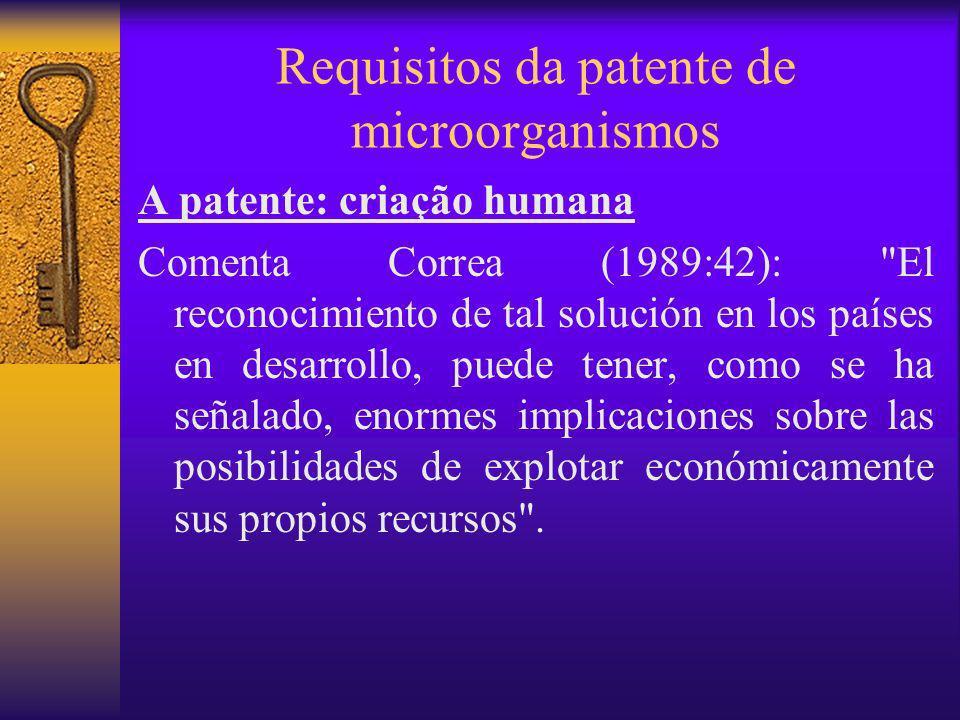 Requisitos da patente de microorganismos A patente: criação humana Comenta Correa (1989:42):