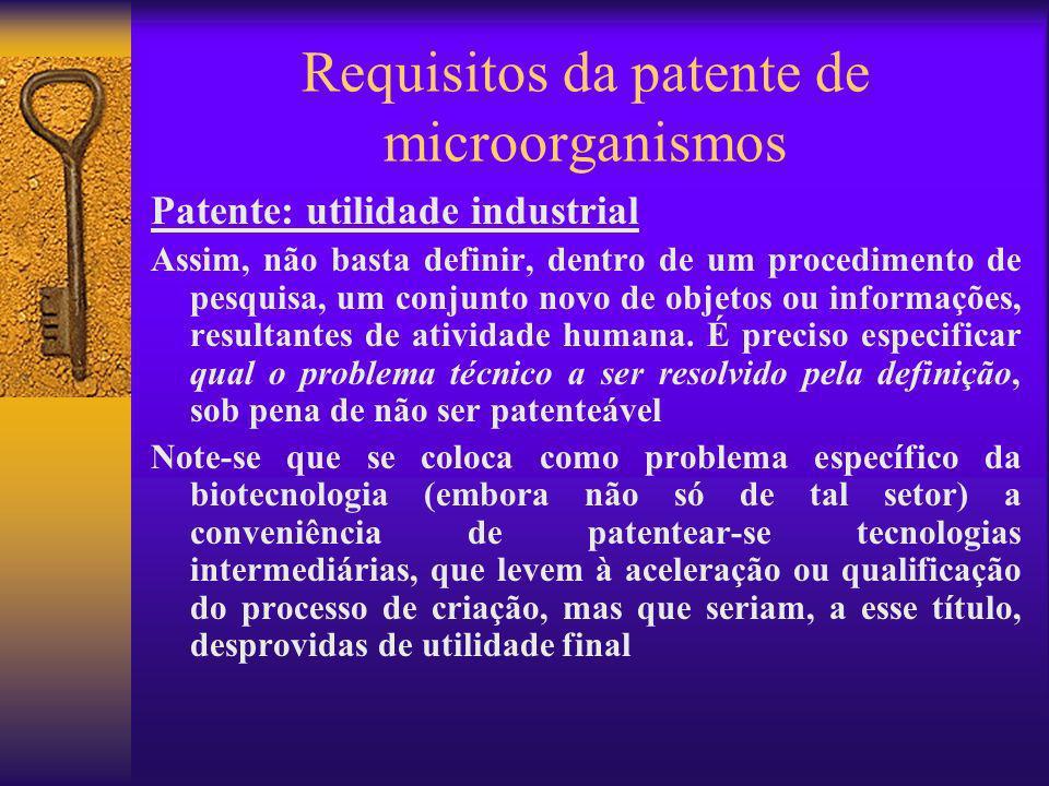 Requisitos da patente de microorganismos Patente: utilidade industrial Assim, não basta definir, dentro de um procedimento de pesquisa, um conjunto no