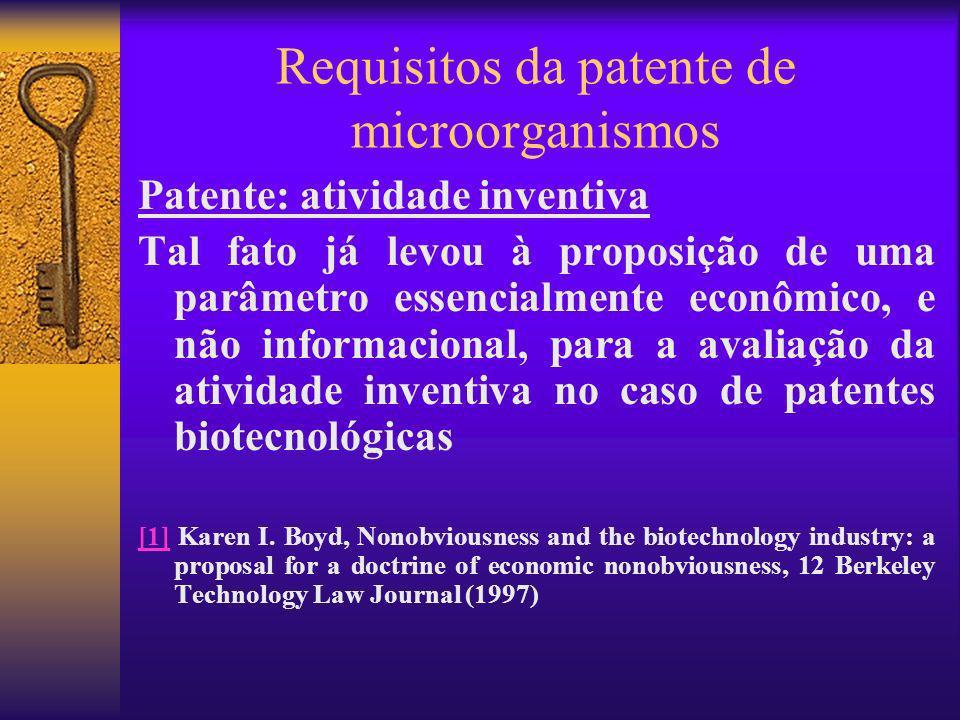 Requisitos da patente de microorganismos Patente: atividade inventiva Tal fato já levou à proposição de uma parâmetro essencialmente econômico, e não