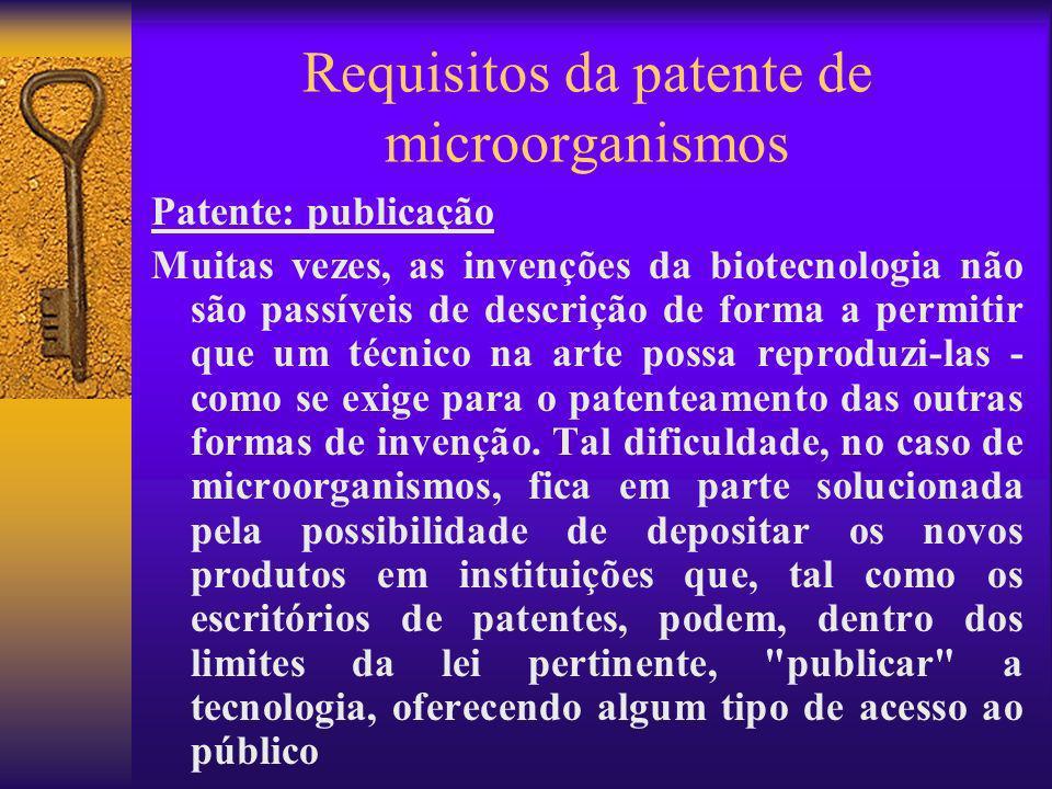 Requisitos da patente de microorganismos Patente: publicação Muitas vezes, as invenções da biotecnologia não são passíveis de descrição de forma a per