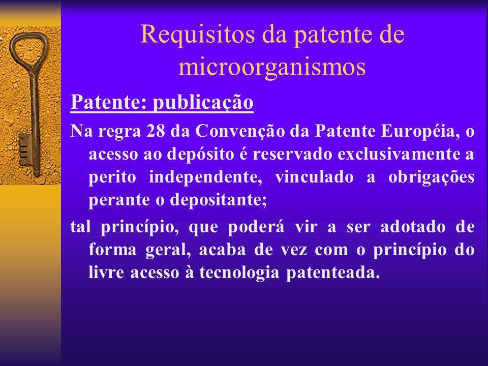 Requisitos da patente de microorganismos Patente: publicação Na regra 28 da Convenção da Patente Européia, o acesso ao depósito é reservado exclusivam