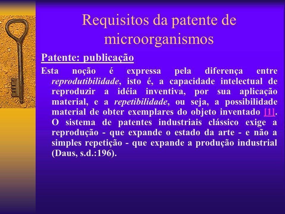 Requisitos da patente de microorganismos Patente: publicação Esta noção é expressa pela diferença entre reprodutibilidade, isto é, a capacidade intele