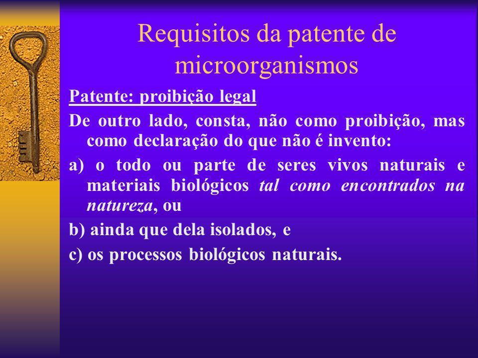 Requisitos da patente de microorganismos Patente: proibição legal De outro lado, consta, não como proibição, mas como declaração do que não é invento: