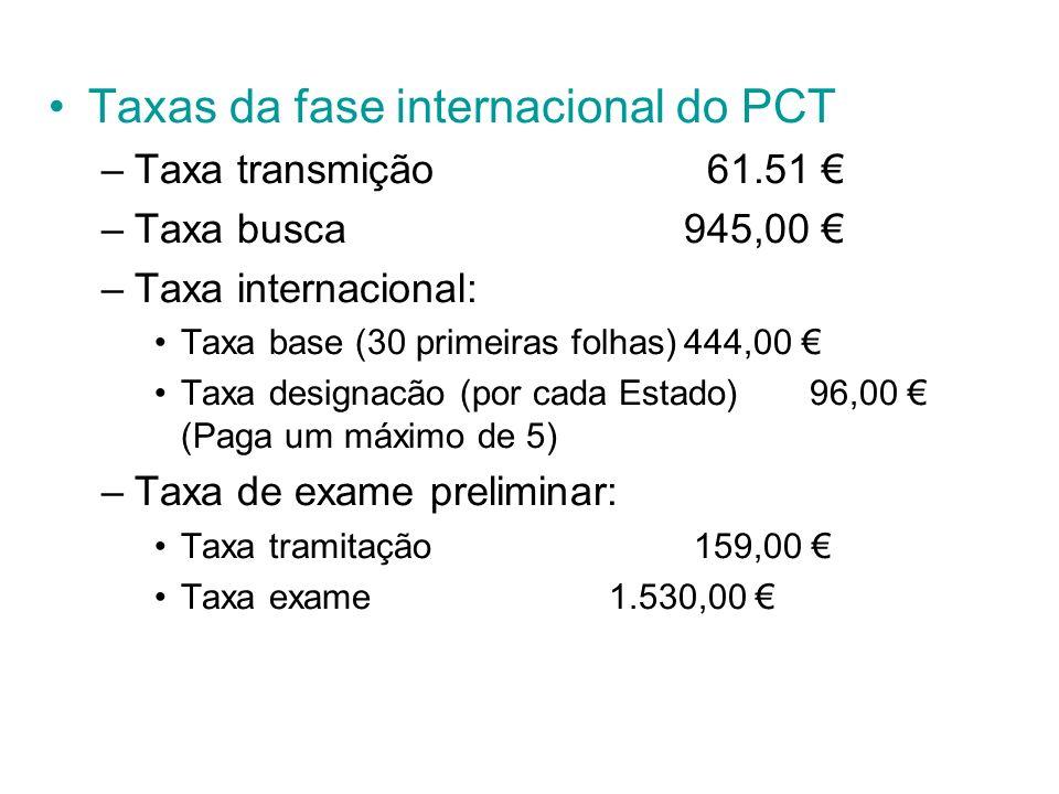 Taxas da fase internacional do PCT –Taxa transmição 61.51 –Taxa busca945,00 –Taxa internacional: Taxa base (30 primeiras folhas)444,00 Taxa designacão