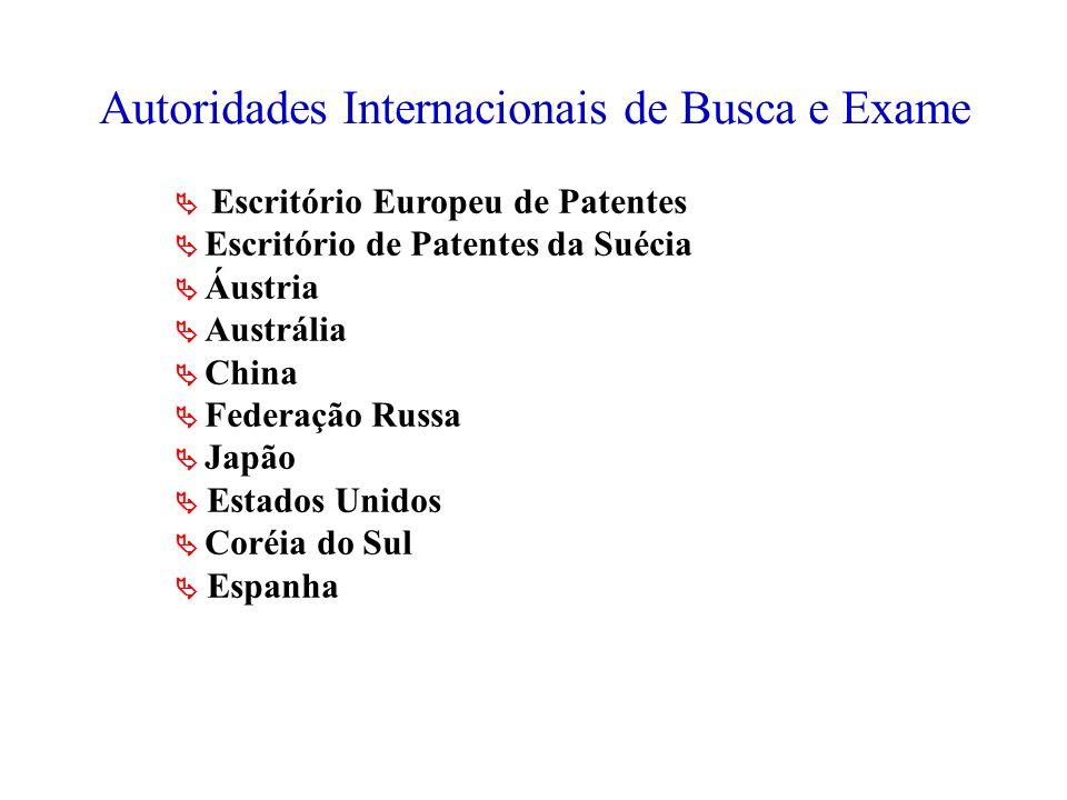 Autoridades Internacionais de Busca e Exame Escritório Europeu de Patentes Escritório de Patentes da Suécia Áustria Austrália China Federação Russa Ja