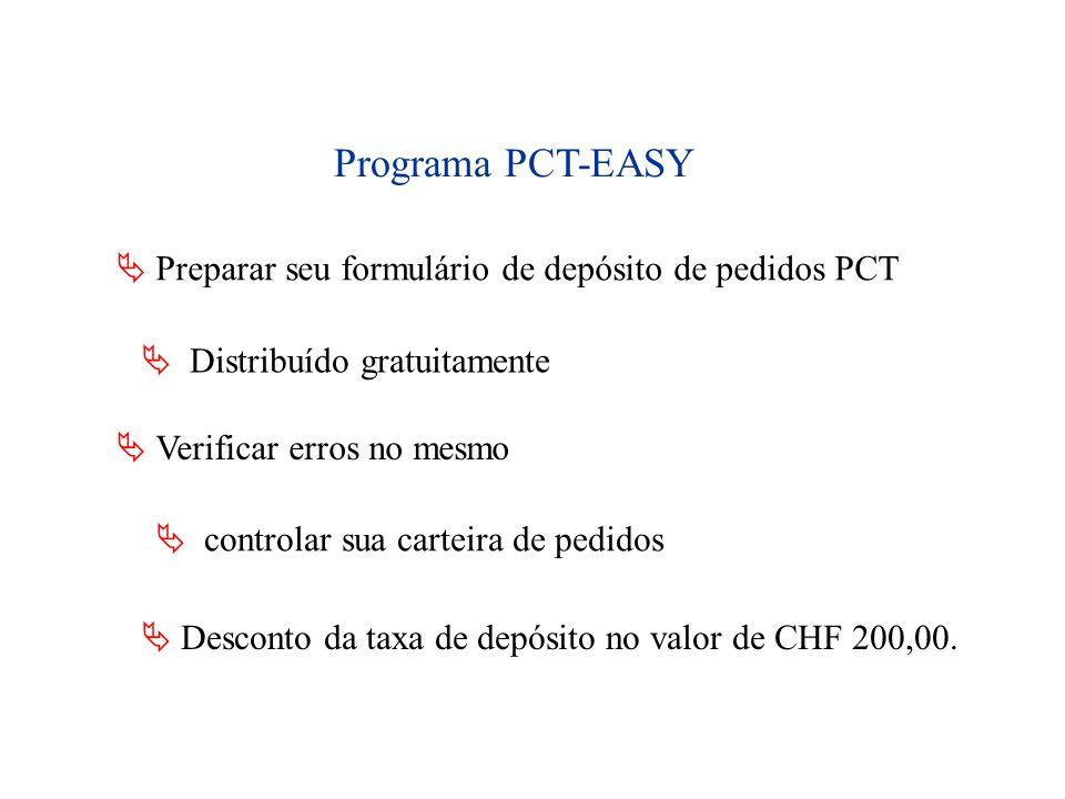 Programa PCT-EASY Preparar seu formulário de depósito de pedidos PCT Distribuído gratuitamente Verificar erros no mesmo controlar sua carteira de pedi