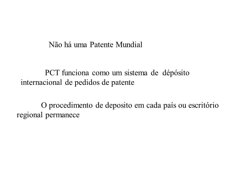 Não há uma Patente Mundial PCT funciona como um sistema de dépósito internacional de pedidos de patente O procedimento de deposito em cada país ou esc