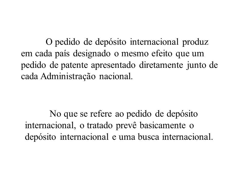 O pedido de depósito internacional produz em cada país designado o mesmo efeito que um pedido de patente apresentado diretamente junto de cada Adminis