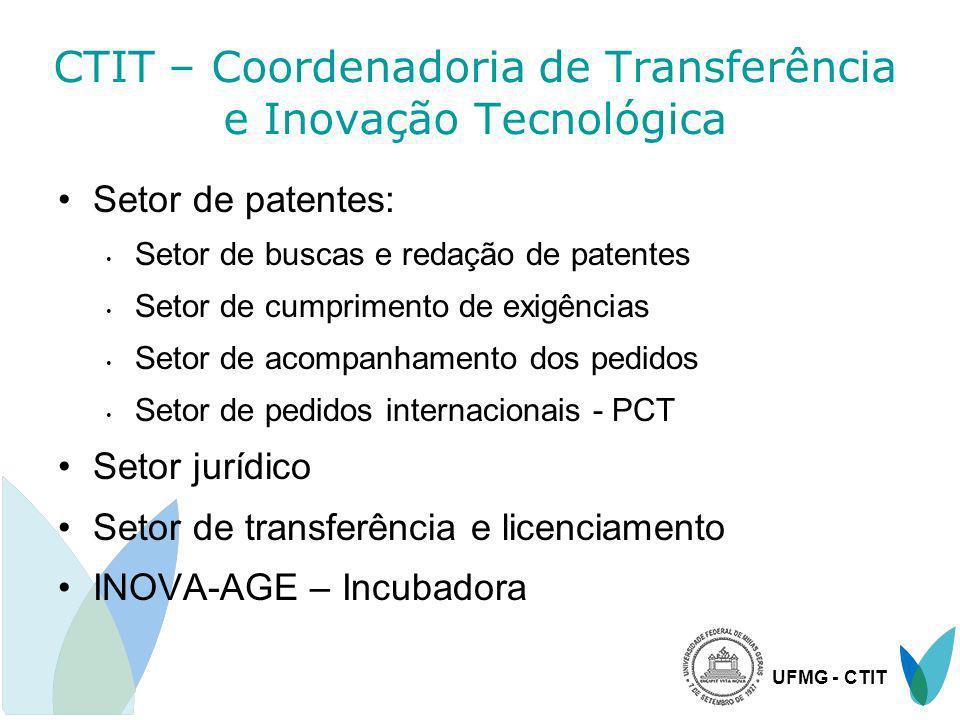UFMG - CTIT CTIT – Coordenadoria de Transferência e Inovação Tecnológica Setor de patentes: Setor de buscas e redação de patentes Setor de cumprimento