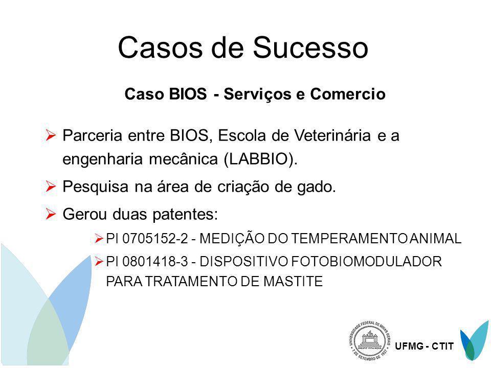 UFMG - CTIT Casos de Sucesso Caso BIOS - Serviços e Comercio Parceria entre BIOS, Escola de Veterinária e a engenharia mecânica (LABBIO). Pesquisa na