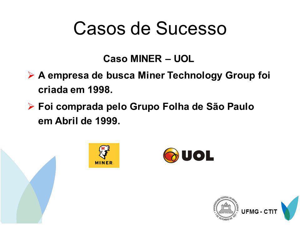 UFMG - CTIT Casos de Sucesso Caso MINER – UOL A empresa de busca Miner Technology Group foi criada em 1998. Foi comprada pelo Grupo Folha de São Paulo