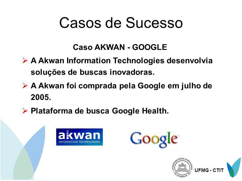 UFMG - CTIT Casos de Sucesso Caso AKWAN - GOOGLE A Akwan Information Technologies desenvolvia soluções de buscas inovadoras. A Akwan foi comprada pela