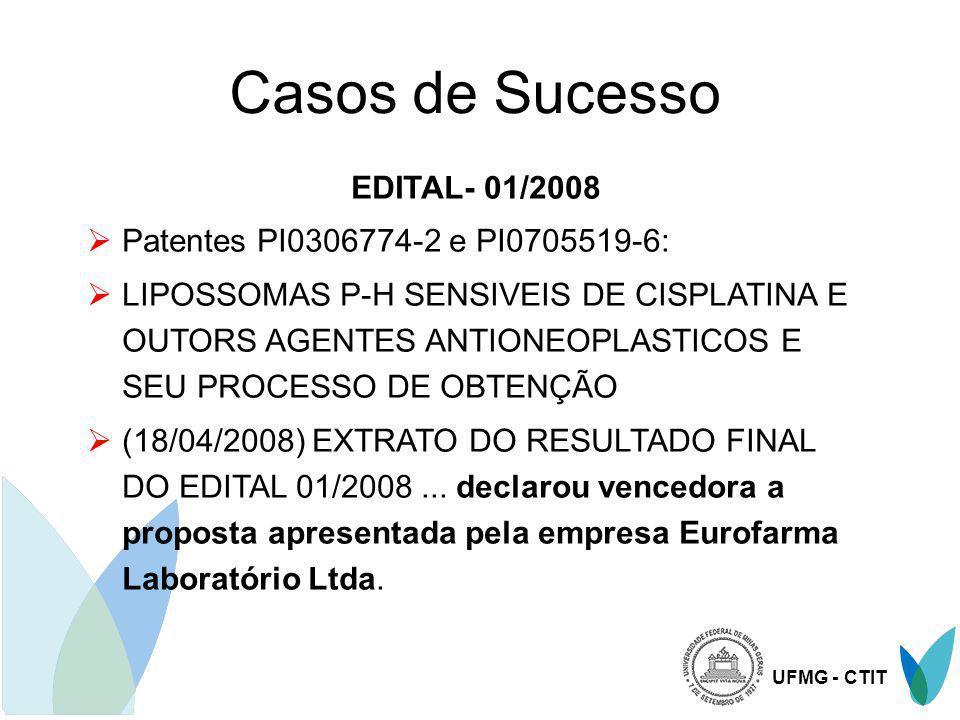 UFMG - CTIT Casos de Sucesso EDITAL- 01/2008 Patentes PI0306774-2 e PI0705519-6: LIPOSSOMAS P-H SENSIVEIS DE CISPLATINA E OUTORS AGENTES ANTIONEOPLAST