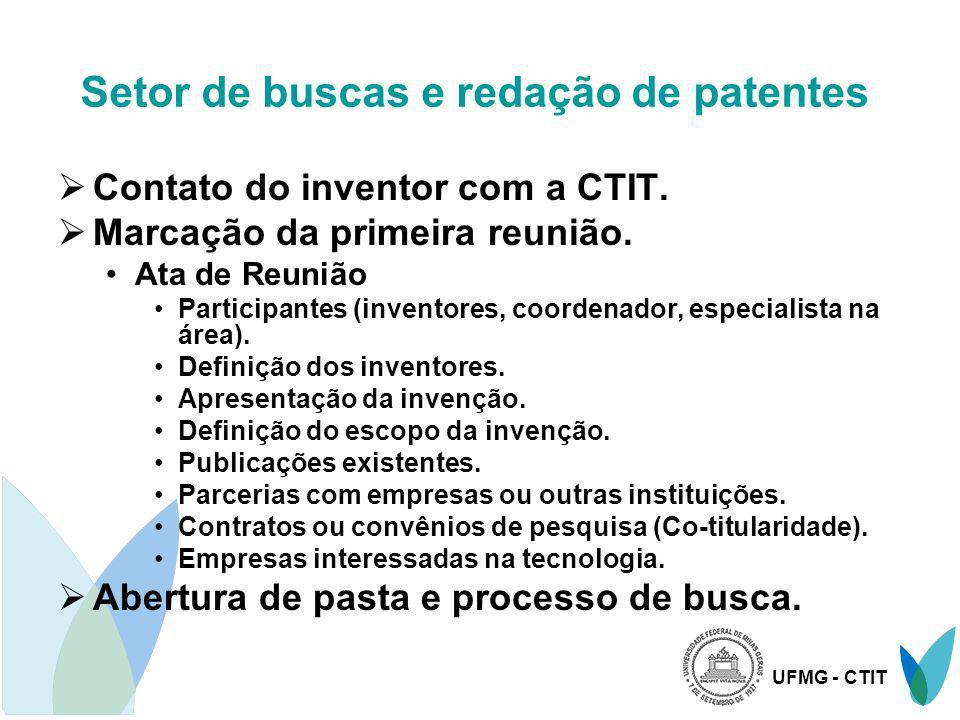 UFMG - CTIT Setor de buscas e redação de patentes Contato do inventor com a CTIT. Marcação da primeira reunião. Ata de Reunião Participantes (inventor
