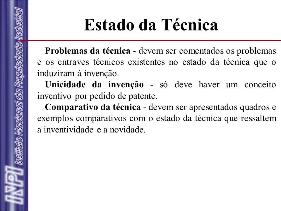 Estado da Técnica Problemas da técnica - devem ser comentados os problemas e os entraves técnicos existentes no estado da técnica que o induziram à in
