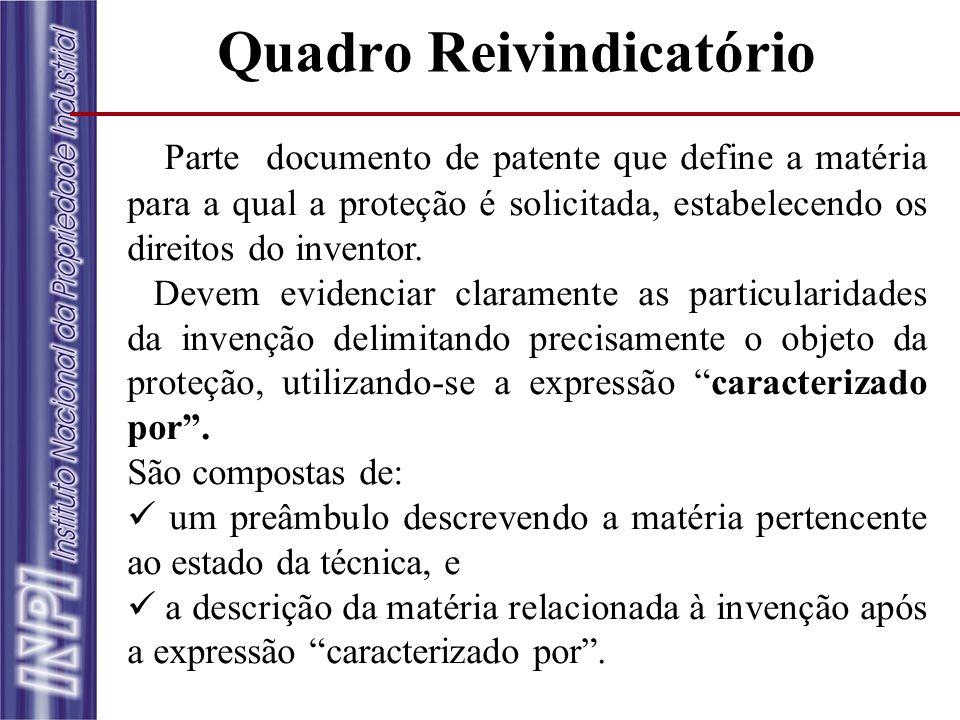 Quadro Reivindicatório Parte documento de patente que define a matéria para a qual a proteção é solicitada, estabelecendo os direitos do inventor. Dev