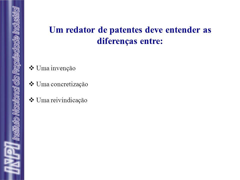 Um redator de patentes deve entender as diferenças entre: Uma invenção Uma concretização Uma reivindicação