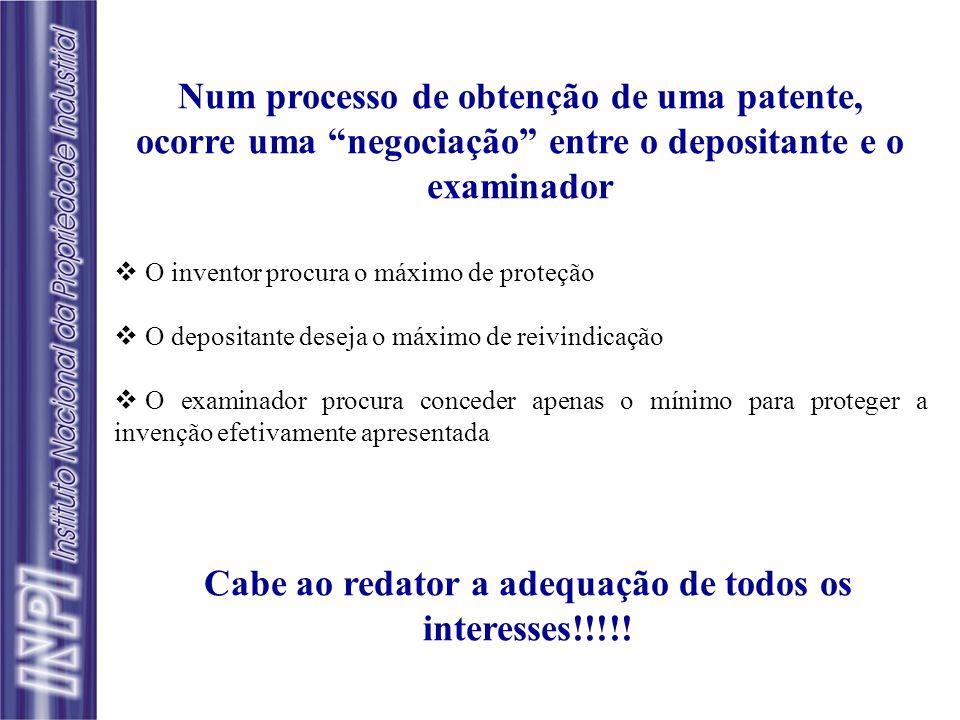 Num processo de obtenção de uma patente, ocorre uma negociação entre o depositante e o examinador O inventor procura o máximo de proteção O depositant
