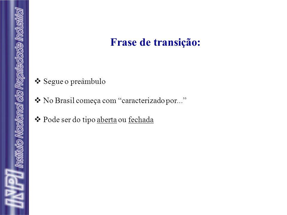 Frase de transição: Segue o preâmbulo No Brasil começa com caracterizado por... Pode ser do tipo aberta ou fechada