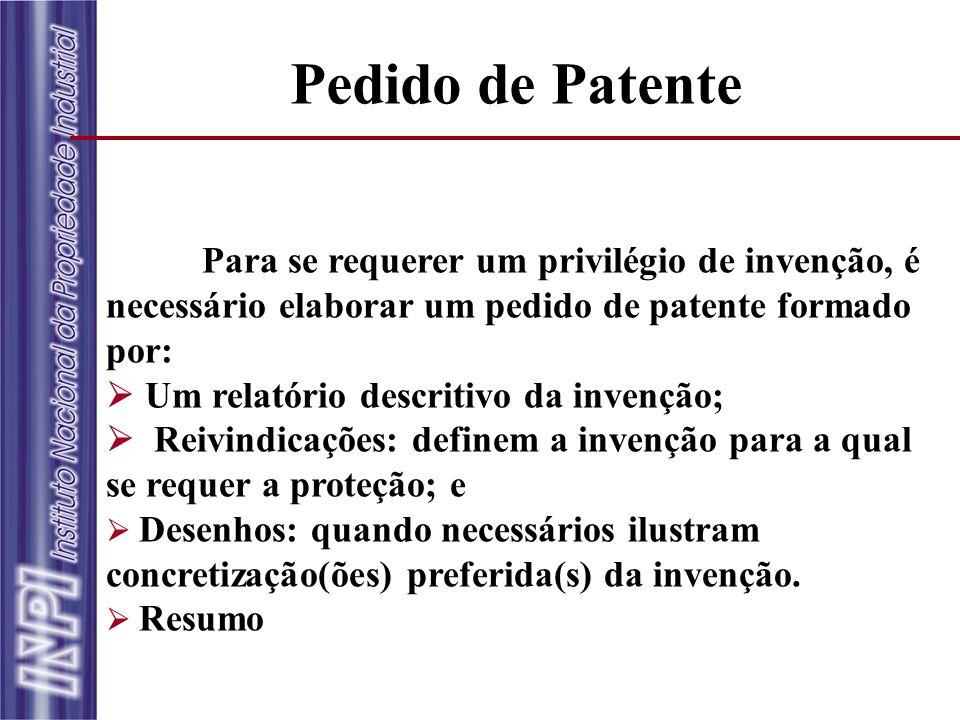 Pedido de Patente Para se requerer um privilégio de invenção, é necessário elaborar um pedido de patente formado por: Um relatório descritivo da inven