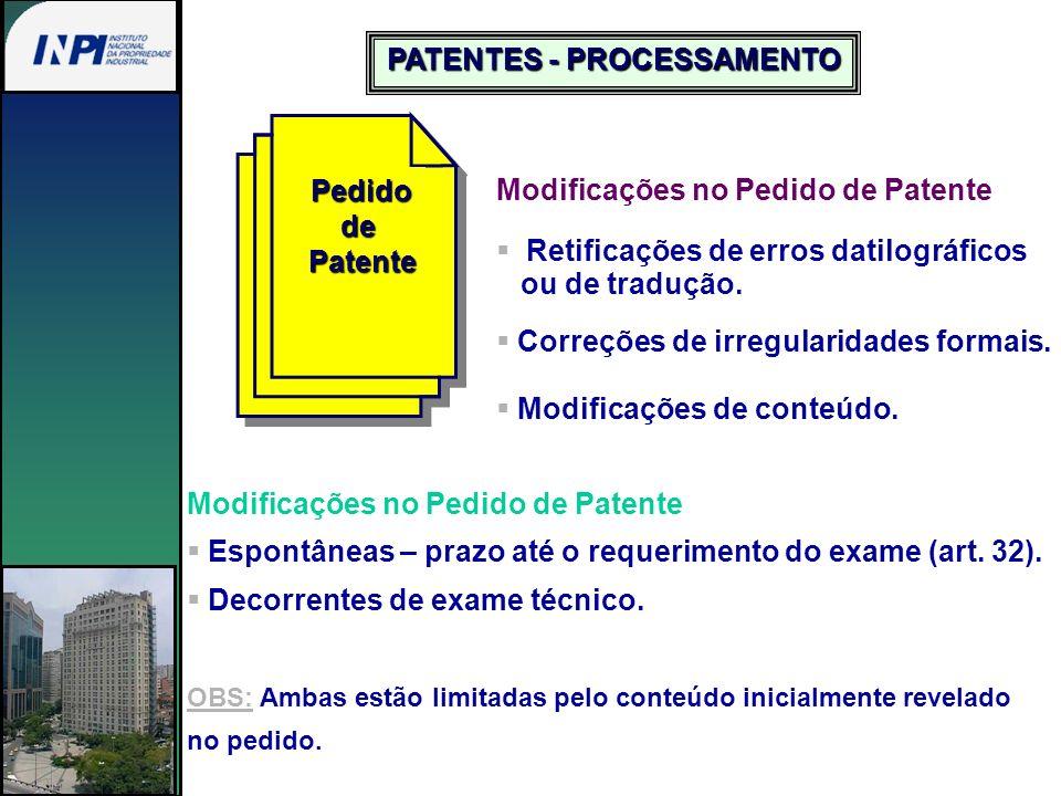 PedidodePatente Modificações no Pedido de Patente Retificações de erros datilográficos ou de tradução. Correções de irregularidades formais. Modificaç