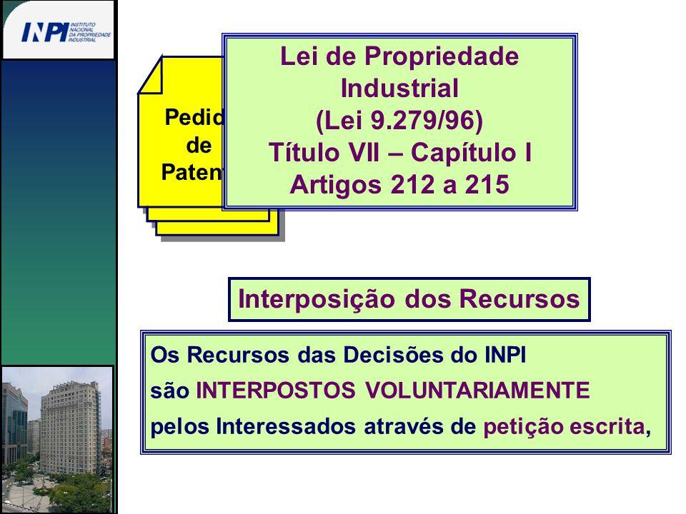 Pedido de Patente Os Recursos das Decisões do INPI são INTERPOSTOS VOLUNTARIAMENTE pelos Interessados através de petição escrita, Interposição dos Rec