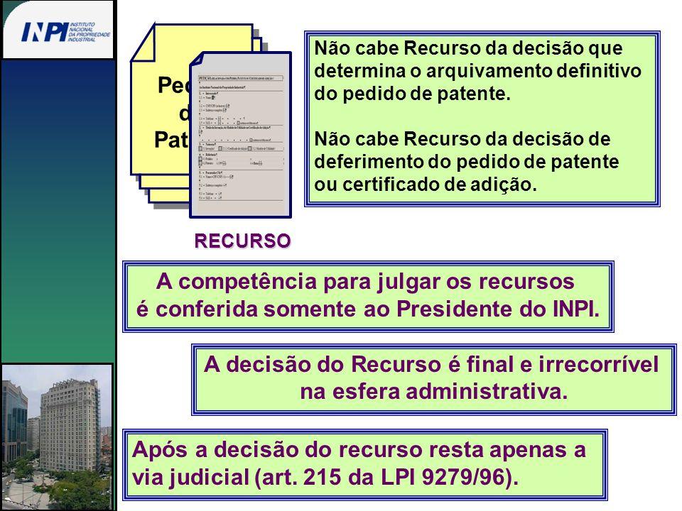 Não cabe Recurso da decisão que determina o arquivamento definitivo do pedido de patente. Não cabe Recurso da decisão de deferimento do pedido de pate