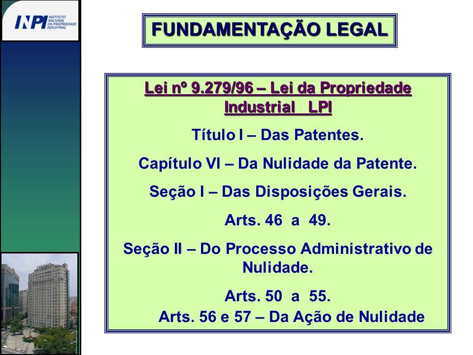 Lei nº 9.279/96 – Lei da Propriedade Industrial LPI Título I – Das Patentes. Capítulo VI – Da Nulidade da Patente. Seção I – Das Disposições Gerais. A