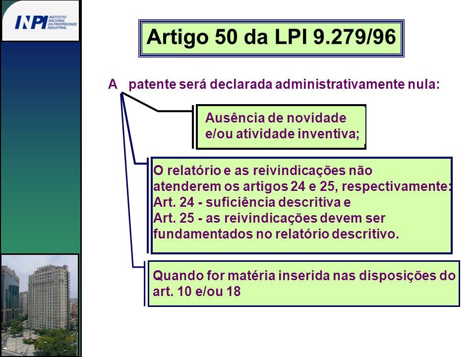 Artigo 50 da LPI 9.279/96 A patente será declarada administrativamente nula: Ausência de novidade e/ou atividade inventiva; O relatório e as reivindic