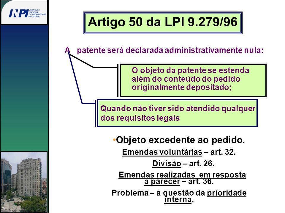 Artigo 50 da LPI 9.279/96 A patente será declarada administrativamente nula: O objeto da patente se estenda além do conteúdo do pedido originalmente d